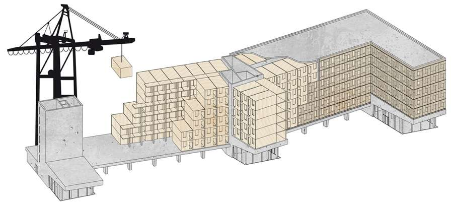 Bauweise Studentenwohnheim WOODIE